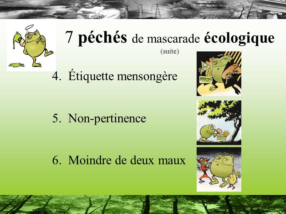 7 péchés de mascarade écologique (suite) 4. Étiquette mensongère 5.