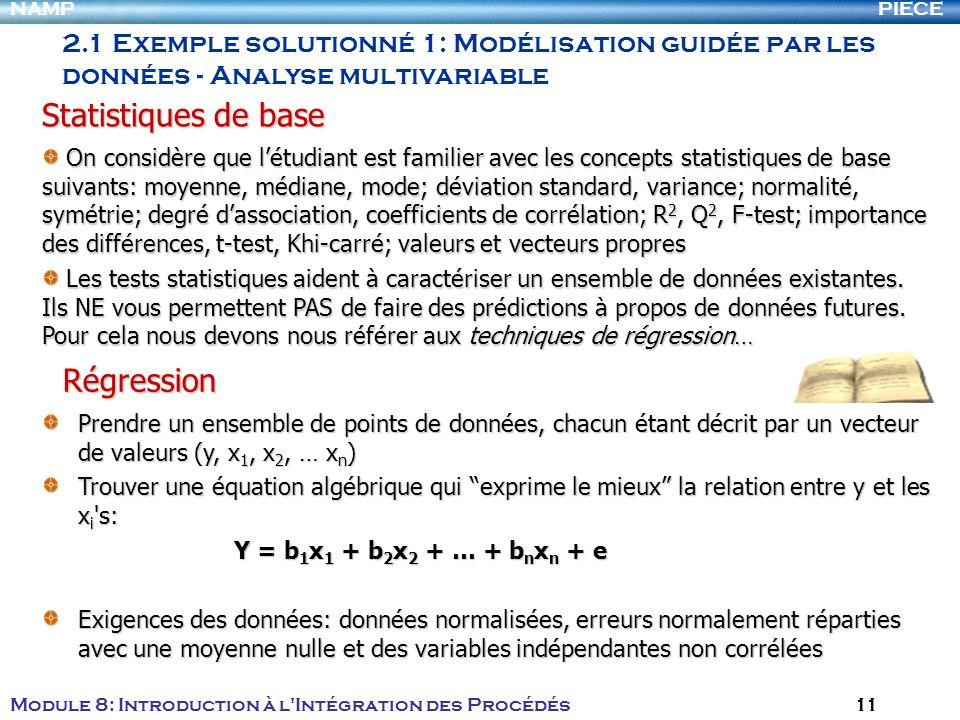 PIECENAMP Module 8: Introduction à l Intégration des Procédés 11 On considère que létudiant est familier avec les concepts statistiques de base suivants: moyenne, médiane, mode; déviation standard, variance; normalité, symétrie; degré dassociation, coefficients de corrélation; R 2, Q 2, F-test; importance des différences, t-test, Khi-carré; valeurs et vecteurs propres On considère que létudiant est familier avec les concepts statistiques de base suivants: moyenne, médiane, mode; déviation standard, variance; normalité, symétrie; degré dassociation, coefficients de corrélation; R 2, Q 2, F-test; importance des différences, t-test, Khi-carré; valeurs et vecteurs propres Les tests statistiques aident à caractériser un ensemble de données existantes.