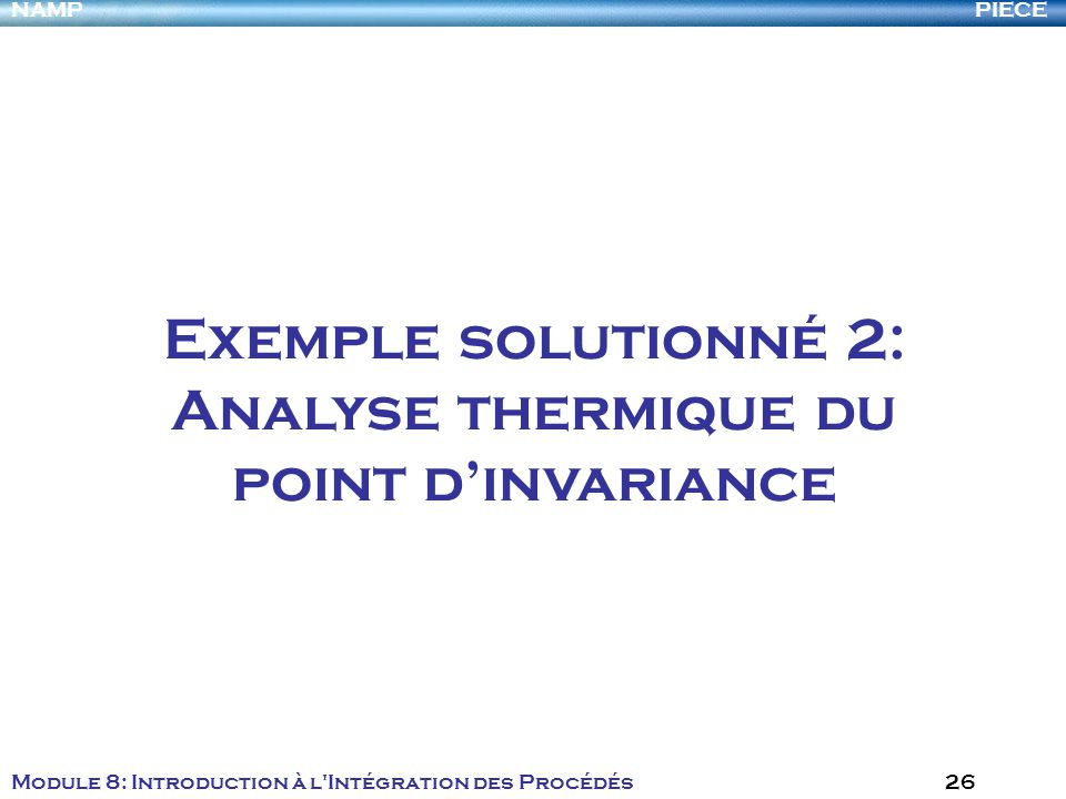 PIECENAMP Module 8: Introduction à l'Intégration des Procédés 26 Exemple solutionné 2: Analyse thermique du point dinvariance