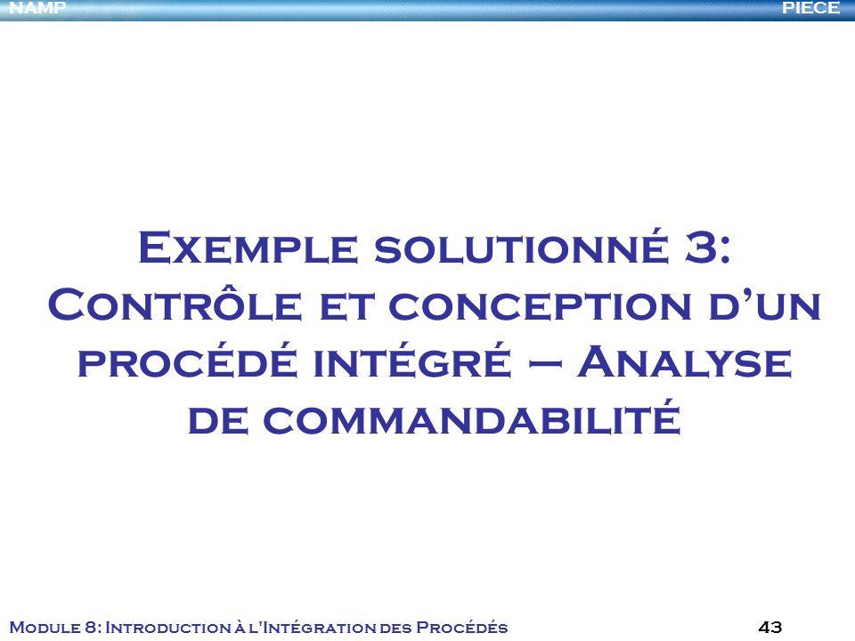 PIECENAMP Module 8: Introduction à l Intégration des Procédés 43 Exemple solutionné 3: Contrôle et conception dun procédé intégré – Analyse de commandabilité