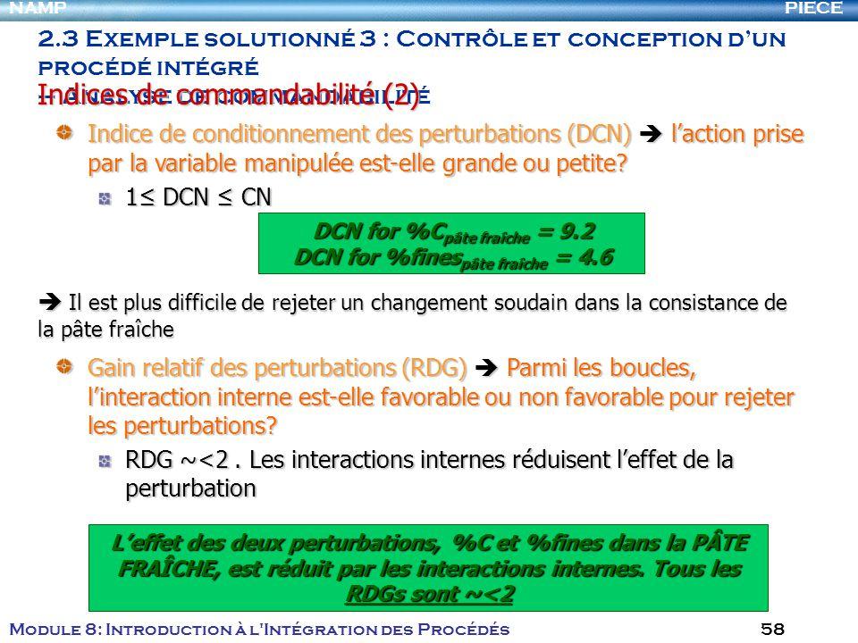 PIECENAMP Module 8: Introduction à l Intégration des Procédés 58 Indice de conditionnement des perturbations (DCN) laction prise par la variable manipulée est-elle grande ou petite.