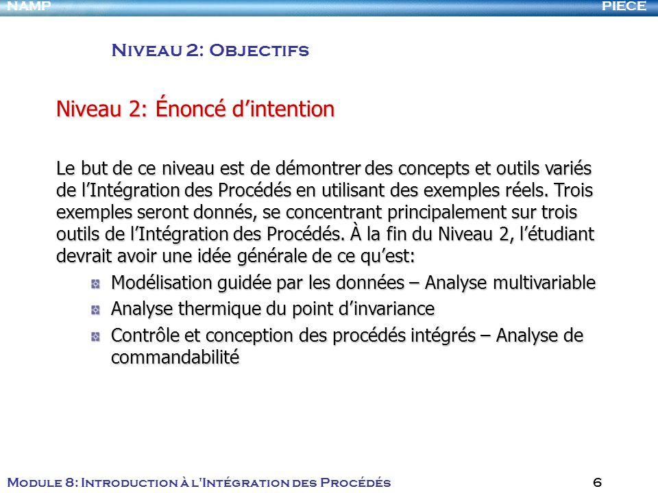 PIECENAMP Module 8: Introduction à l Intégration des Procédés 6 Niveau 2: Objectifs Niveau 2: Énoncé dintention Le but de ce niveau est de démontrer des concepts et outils variés de lIntégration des Procédés en utilisant des exemples réels.
