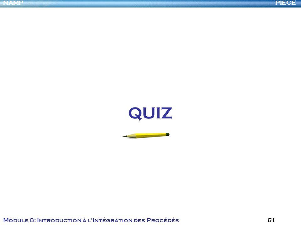 PIECENAMP Module 8: Introduction à l Intégration des Procédés 61 QUIZ