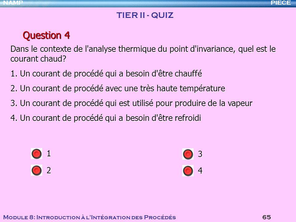 PIECENAMP Module 8: Introduction à l Intégration des Procédés 65 Question 4 Dans le contexte de l analyse thermique du point d invariance, quel est le courant chaud.