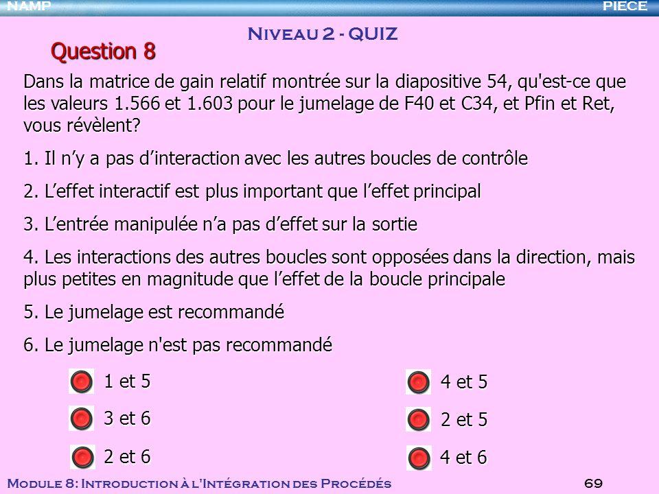 PIECENAMP Module 8: Introduction à l Intégration des Procédés 69 Question 8 Niveau 2 - QUIZ 1 et 5 4 et 6 3 et 6 2 et 6 4 et 5 2 et 5 Dans la matrice de gain relatif montrée sur la diapositive 54, qu est-ce que les valeurs 1.566 et 1.603 pour le jumelage de F40 et C34, et Pfin et Ret, vous révèlent.