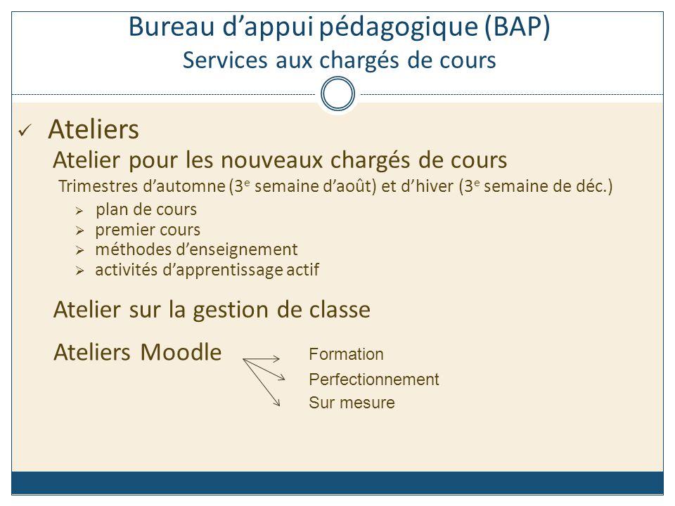 Site Web des chargés de cours http://www.polymtl.ca/chcours/index.php Site Web du BAP http://www.polymtl.ca/bap/ Bureau dappui pédagogique (BAP) Services aux chargés de cours