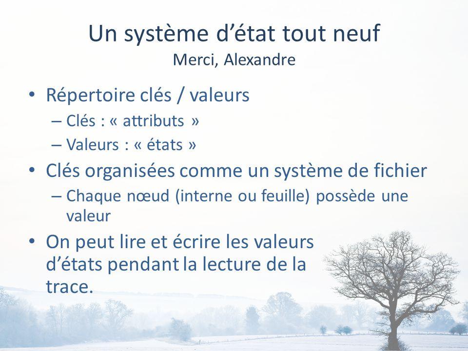 Un système détat tout neuf Merci, Alexandre Répertoire clés / valeurs – Clés : « attributs » – Valeurs : « états » Clés organisées comme un système de fichier – Chaque nœud (interne ou feuille) possède une valeur On peut lire et écrire les valeurs détats pendant la lecture de la trace.
