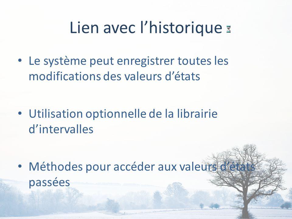 Lien avec lhistorique Le système peut enregistrer toutes les modifications des valeurs détats Utilisation optionnelle de la librairie dintervalles Méthodes pour accéder aux valeurs détats passées