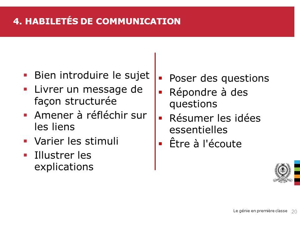 Le génie en première classe 4. HABILETÉS DE COMMUNICATION Bien introduire le sujet Livrer un message de façon structurée Amener à réfléchir sur les li