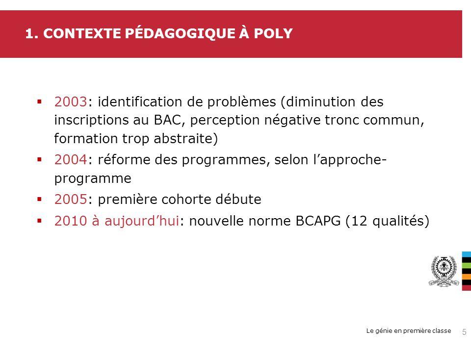 Le génie en première classe 2003: identification de problèmes (diminution des inscriptions au BAC, perception négative tronc commun, formation trop ab
