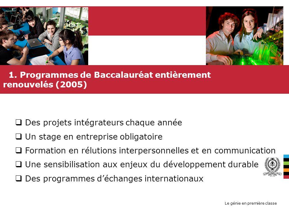 Le génie en première classe 1. Programmes de Baccalauréat entièrement renouvelés (2005) UNE FORMATION DINGÉNIEUR ÉQUILIBRÉE Des projets intégrateurs c