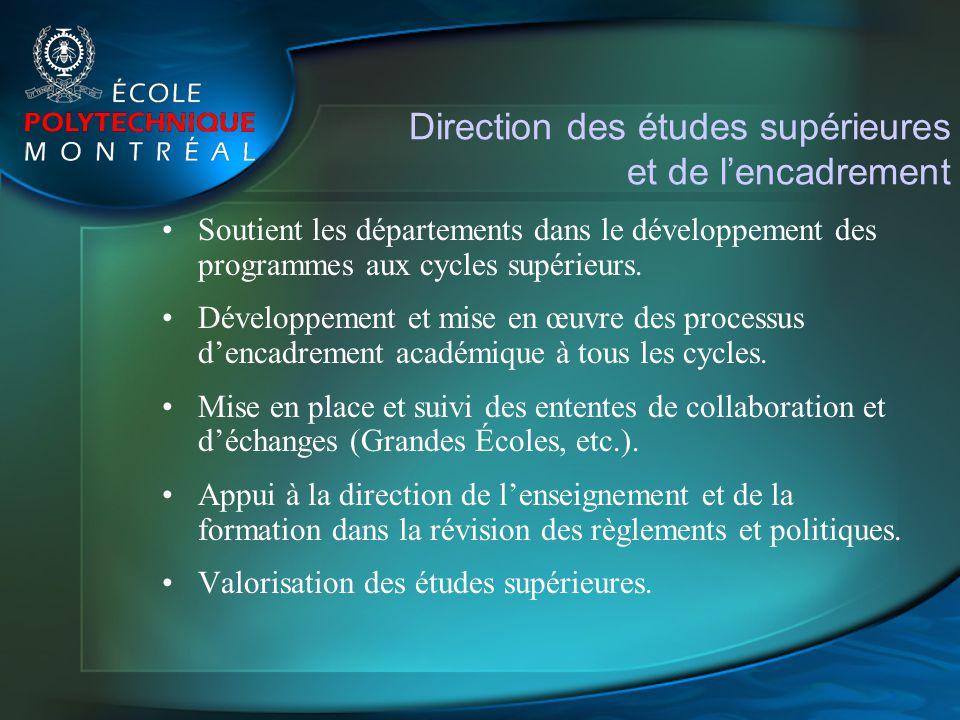 Direction des études supérieures et de lencadrement Soutient les départements dans le développement des programmes aux cycles supérieurs. Développemen