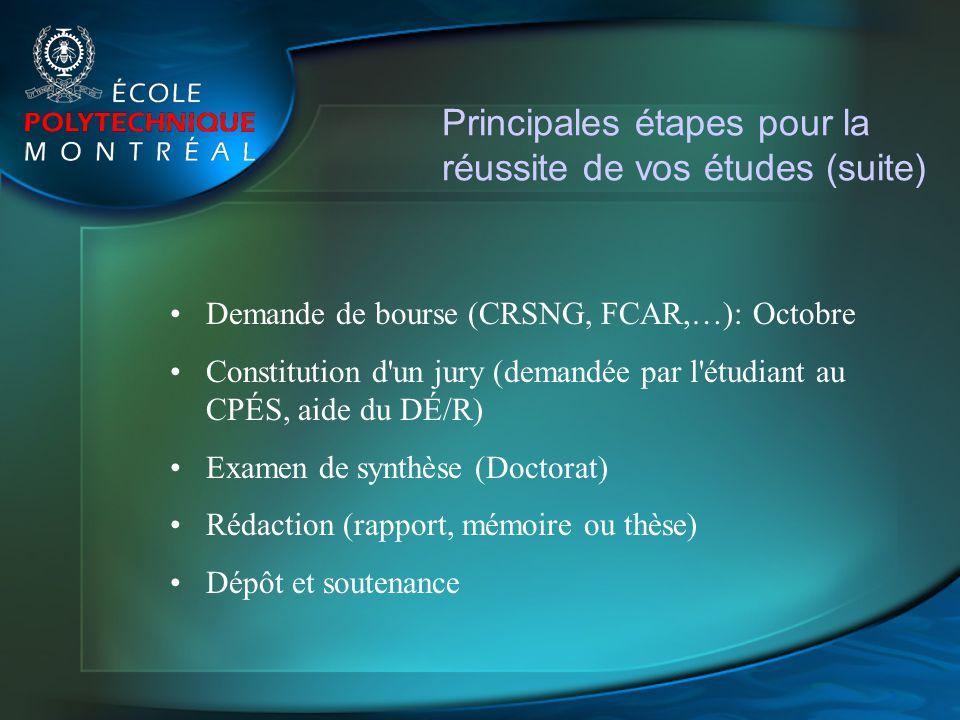Principales étapes pour la réussite de vos études (suite) Demande de bourse (CRSNG, FCAR,…): Octobre Constitution d'un jury (demandée par l'étudiant a