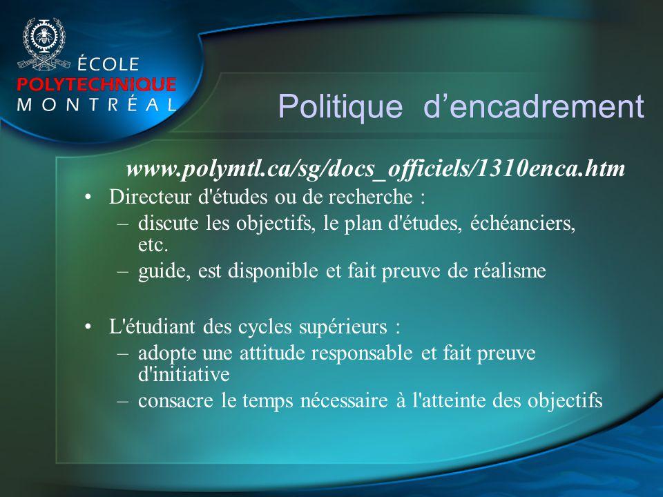 Politique dencadrement Directeur d'études ou de recherche : –discute les objectifs, le plan d'études, échéanciers, etc. –guide, est disponible et fait