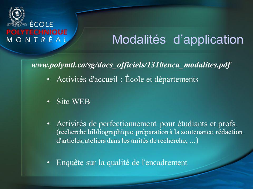 Modalités dapplication Activités d'accueil : École et départements Site WEB Activités de perfectionnement pour étudiants et profs. (recherche bibliogr