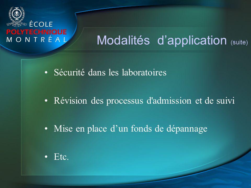 Modalités dapplication (suite) Sécurité dans les laboratoires Révision des processus d'admission et de suivi Mise en place dun fonds de dépannage Etc.