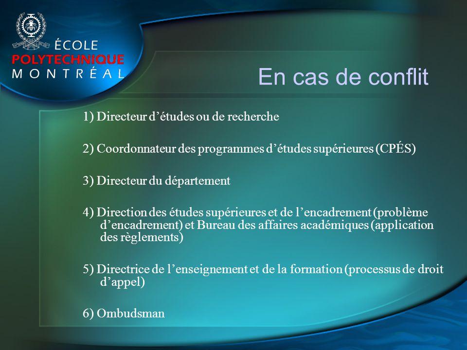 En cas de conflit 1) Directeur détudes ou de recherche 2) Coordonnateur des programmes détudes supérieures (CPÉS) 3) Directeur du département 4) Direc