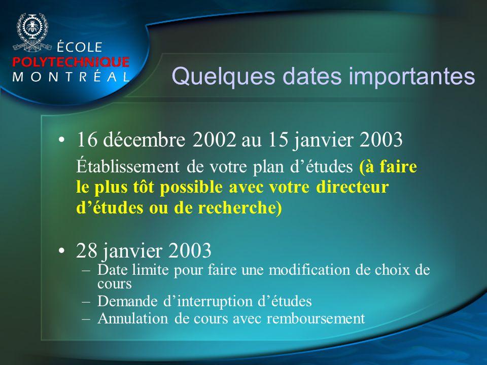 Quelques dates importantes 16 décembre 2002 au 15 janvier 2003 Établissement de votre plan détudes (à faire le plus tôt possible avec votre directeur