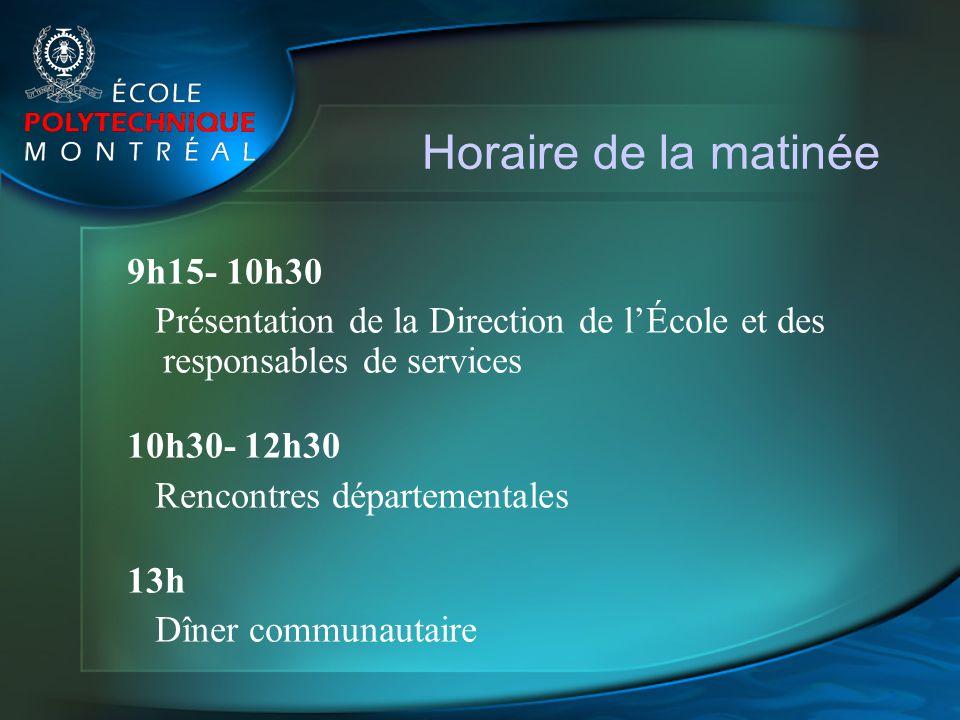 Horaire de la matinée 9h15- 10h30 Présentation de la Direction de lÉcole et des responsables de services 10h30- 12h30 Rencontres départementales 13h D