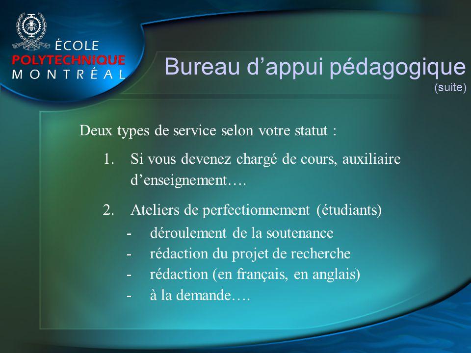 Bureau dappui pédagogique (suite) Deux types de service selon votre statut : 1.Si vous devenez chargé de cours, auxiliaire denseignement…. 2.Ateliers