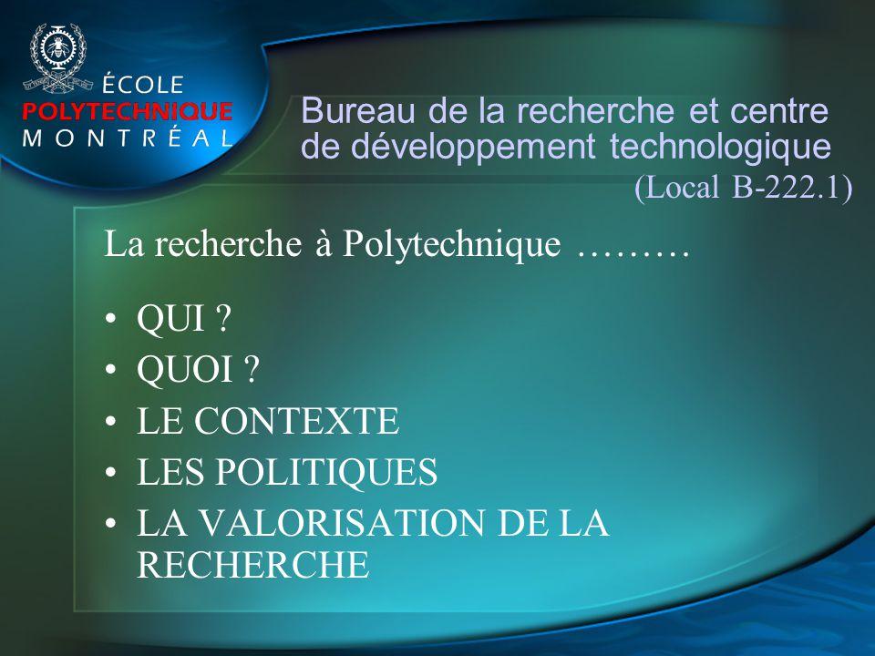 Bureau de la recherche et centre de développement technologique (Local B-222.1) La recherche à Polytechnique ……… QUI ? QUOI ? LE CONTEXTE LES POLITIQU