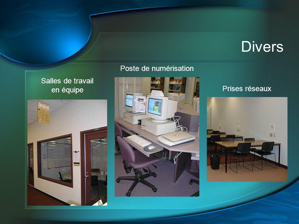 Divers Salles de travail en équipe Poste de numérisation Prises réseaux