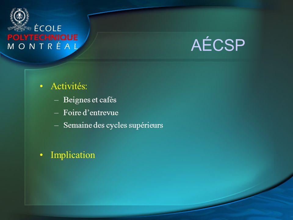 AÉCSP Activités: –Beignes et cafés –Foire dentrevue –Semaine des cycles supérieurs Implication