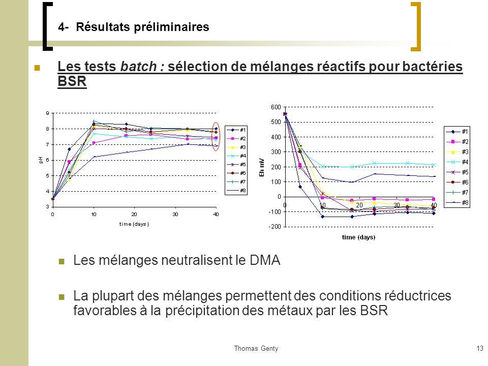 Thomas Genty13 4- Résultats préliminaires Les tests batch : sélection de mélanges réactifs pour bactéries BSR Les mélanges neutralisent le DMA La plupart des mélanges permettent des conditions réductrices favorables à la précipitation des métaux par les BSR
