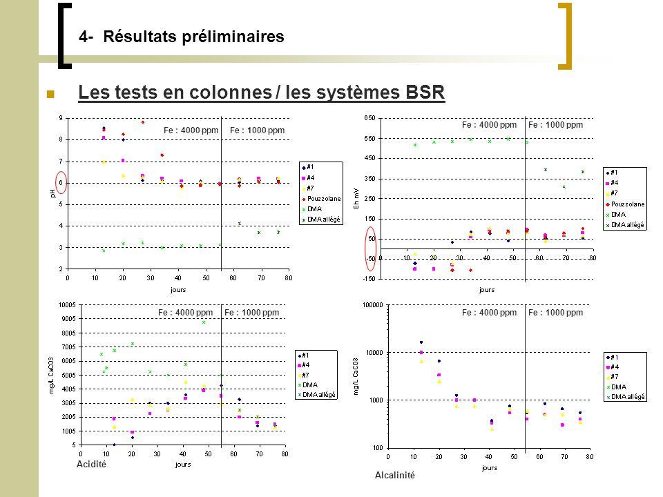 4- Résultats préliminaires Les tests en colonnes / les systèmes BSR Fe : 4000 ppmFe : 1000 ppm Fe : 4000 ppm Fe : 1000 ppm Acidité Alcalinité