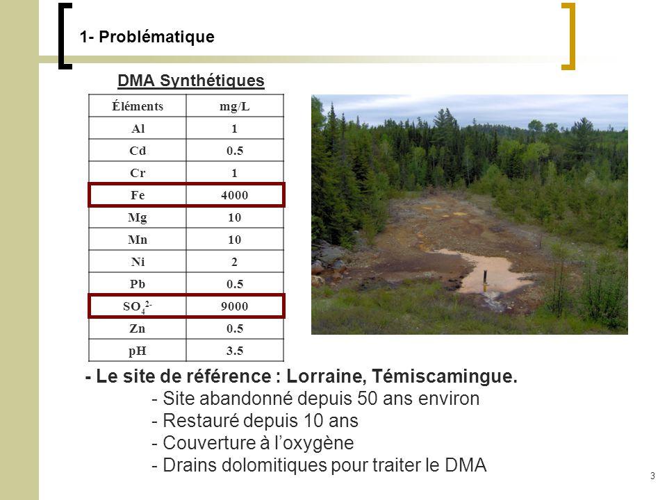 3 1- Problématique DMA Synthétiques Élémentsmg/L Al1 Cd0.5 Cr1 Fe4000 Mg10 Mn10 Ni2 Pb0.5 SO 4 2- 9000 Zn0.5 pH3.5 - Le site de référence : Lorraine, Témiscamingue.