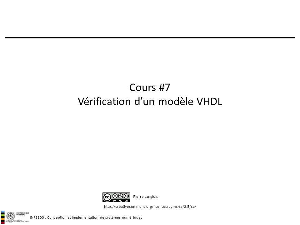 INF3500 : Conception et implémentation de systèmes numériques Plan pour aujourdhui Introduction: retour sur la vérification avec un banc dessai: sections 7.1 à 7.10 Élaboration dun plan de test: section 7.11 Composition dun ensemble de vecteurs de test: section 7.12 – tests de boîte noire – tests de boîte blanche Concepts avancés: section 7.13 2 + Des parenthèses sur VHDL, des précisions sur les notes de cours, des trucs pour utiliser Active-HDL, et des exemples!