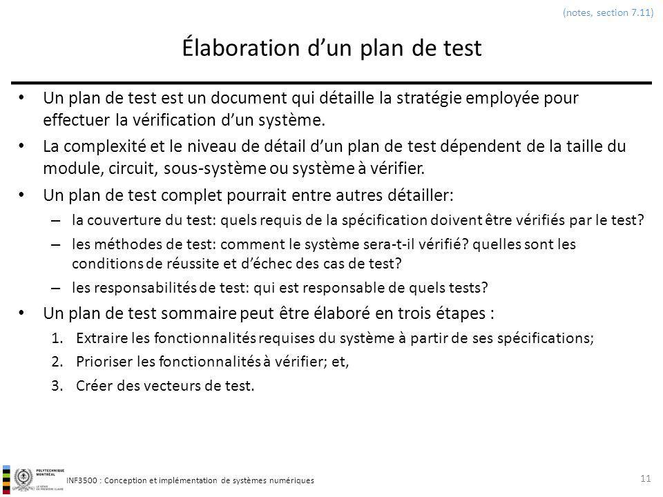 INF3500 : Conception et implémentation de systèmes numériques Élaboration dun plan de test Un plan de test est un document qui détaille la stratégie e