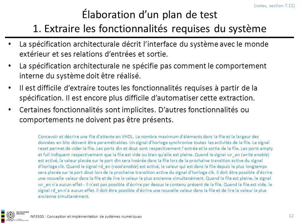 INF3500 : Conception et implémentation de systèmes numériques Élaboration dun plan de test 1. Extraire les fonctionnalités requises du système La spéc