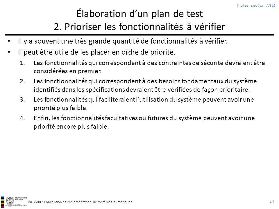 INF3500 : Conception et implémentation de systèmes numériques Élaboration dun plan de test 2. Prioriser les fonctionnalités à vérifier Il y a souvent