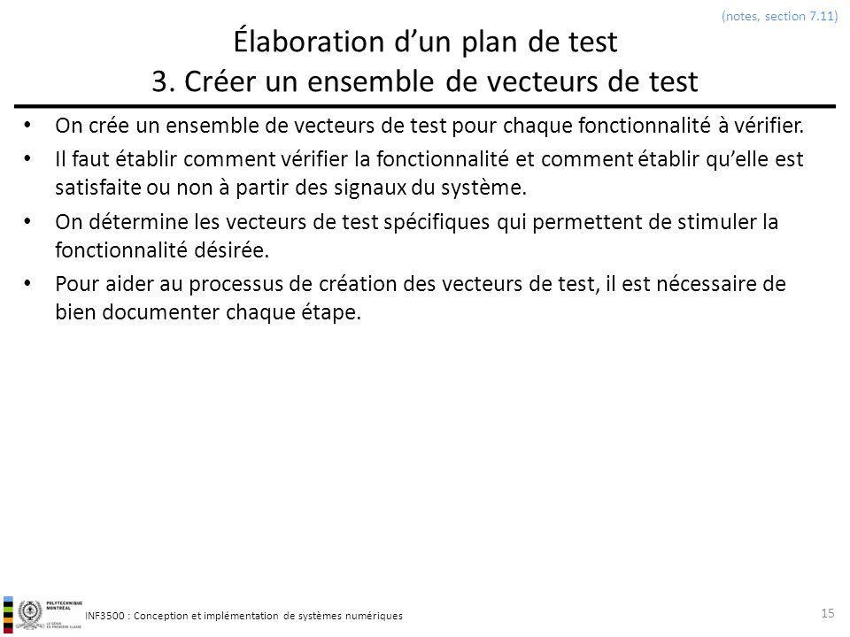 INF3500 : Conception et implémentation de systèmes numériques Élaboration dun plan de test 3. Créer un ensemble de vecteurs de test On crée un ensembl