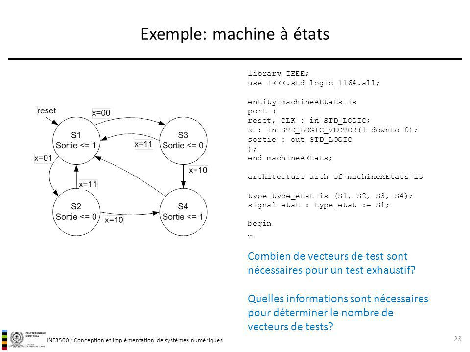 INF3500 : Conception et implémentation de systèmes numériques Exemple: machine à états 23 Combien de vecteurs de test sont nécessaires pour un test ex