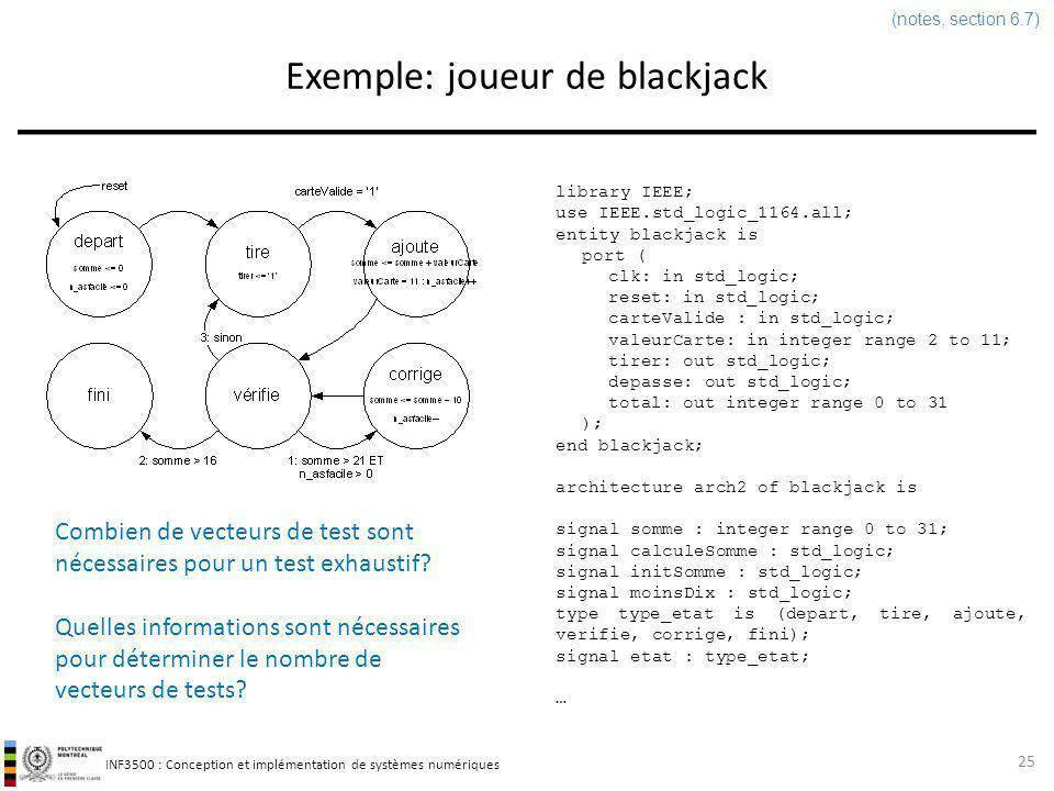INF3500 : Conception et implémentation de systèmes numériques Exemple: joueur de blackjack 25 (notes, section 6.7) Combien de vecteurs de test sont né
