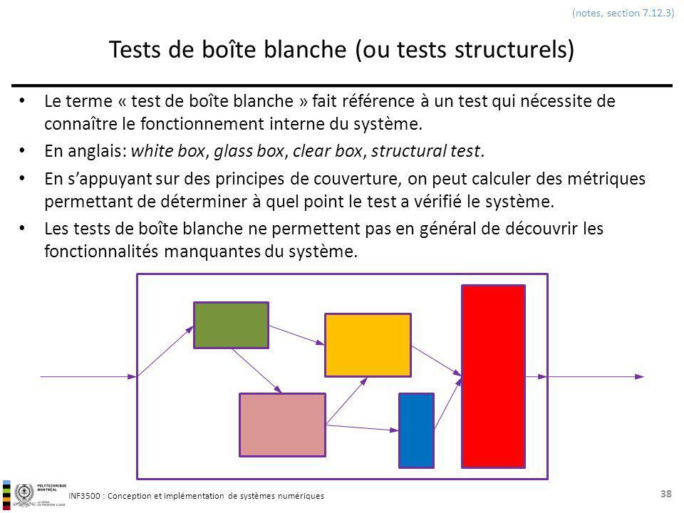 INF3500 : Conception et implémentation de systèmes numériques Tests de boîte blanche (ou tests structurels) Le terme « test de boîte blanche » fait ré