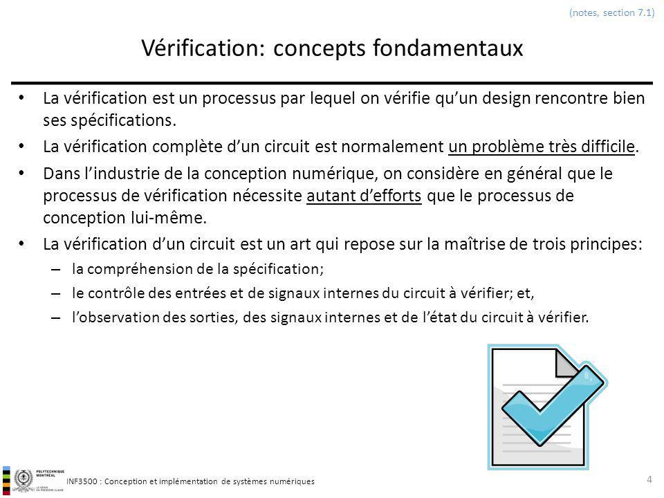 INF3500 : Conception et implémentation de systèmes numériques Vérification par banc dessai Un banc dessai permet dappliquer des vecteurs de test à un circuit et dobserver sa sortie dans le but de vérifier quil rencontre ses spécifications.