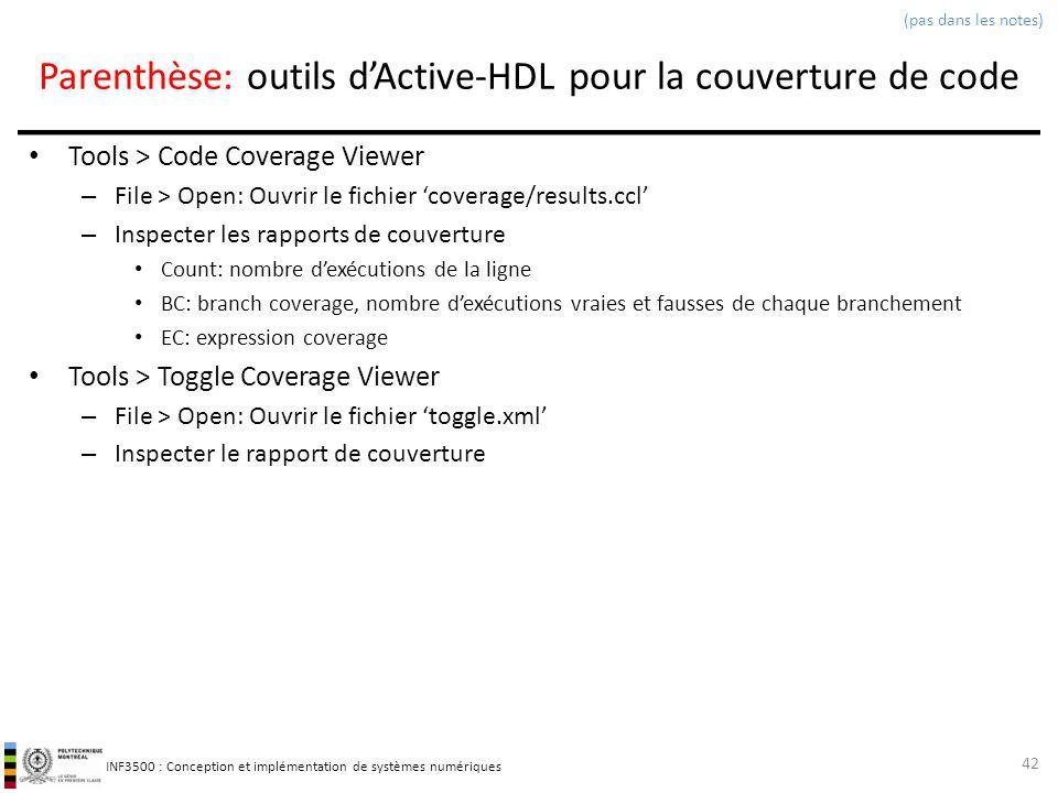 INF3500 : Conception et implémentation de systèmes numériques Parenthèse: outils dActive-HDL pour la couverture de code Tools > Code Coverage Viewer –