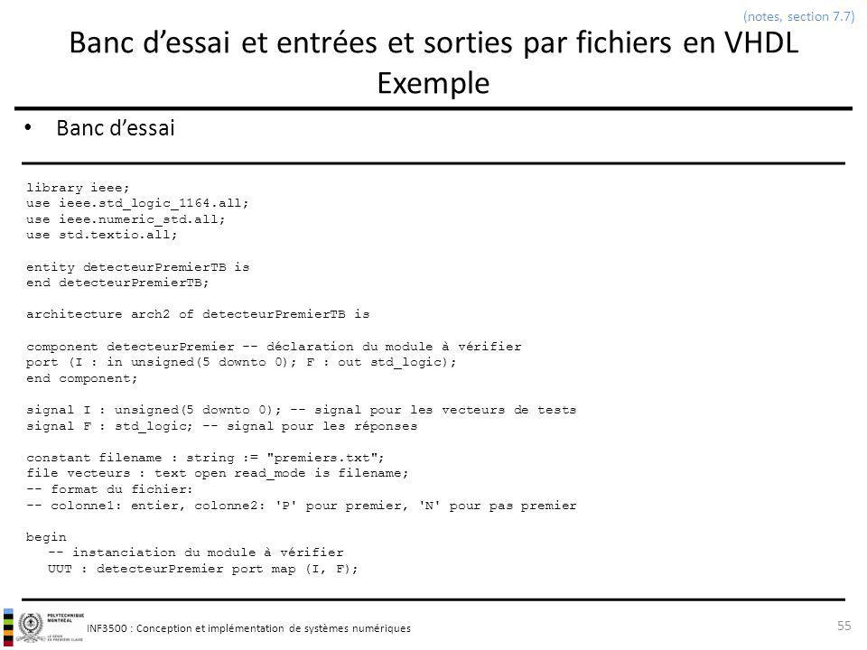 INF3500 : Conception et implémentation de systèmes numériques Banc dessai et entrées et sorties par fichiers en VHDL Exemple Banc dessai 55 (notes, se