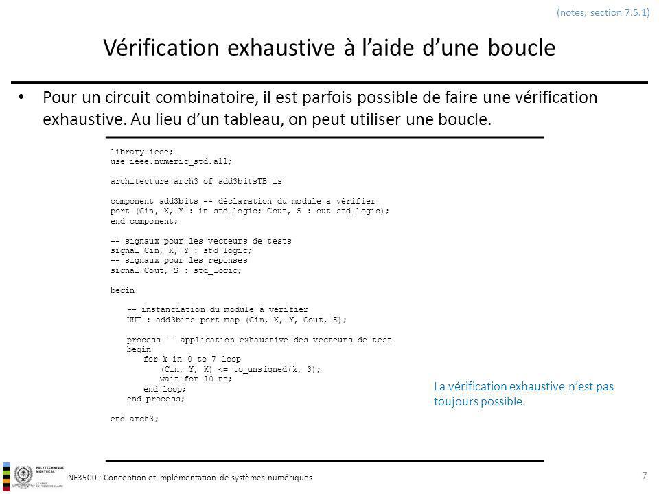 INF3500 : Conception et implémentation de systèmes numériques Parenthèse: outils pour lanalyse statique du code Outils ALINT dAldec – voir le site web 48 (pas dans les notes)
