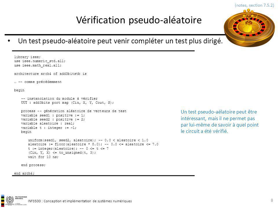 INF3500 : Conception et implémentation de systèmes numériques Vérification dun circuit séquentiel 9 (notes, section 7.10) library ieee; use ieee.std_logic_1164.all; use std.textio.all; entity cctsequentielex1TB is end cctsequentielex1TB; architecture arch1a of cctsequentielex1TB is signal reset : std_logic := 0 ; signal clk : std_logic := 0 ; signal X : std_logic := X ; signal Z : std_logic := X ; constant periode : time := 10 ns; begin clk <= not clk after periode / 2; reset <= 0 after 0 ns, 1 after periode / 4; UUT : entity cctsequentielex1(arch2) port map (reset, clk, X, Z); process (clk) constant vecteurX : std_logic_vector := 00001010010011000111 ; variable compte : natural range 0 to vecteurX length := 0; variable tampon : line; -- pointeur vers objet de type string begin if (falling_edge(clk)) then -- *** front différent de l UUT *** write(tampon, temps: ); write(tampon, now, unit => ns); write(tampon, , x: & std_logic image(x)); write(tampon, , z: & std_logic image(z)); write(tampon, , compte: & integer image(compte)); writeline(output, tampon); -- écriture à la console if compte = vecteurX length then report simulation terminée severity failure; else X <= vecteurX(compte); compte := compte + 1; end if; end process; end arch1a; A B Comment savoir si le circuit a été adéquatement vérifié.