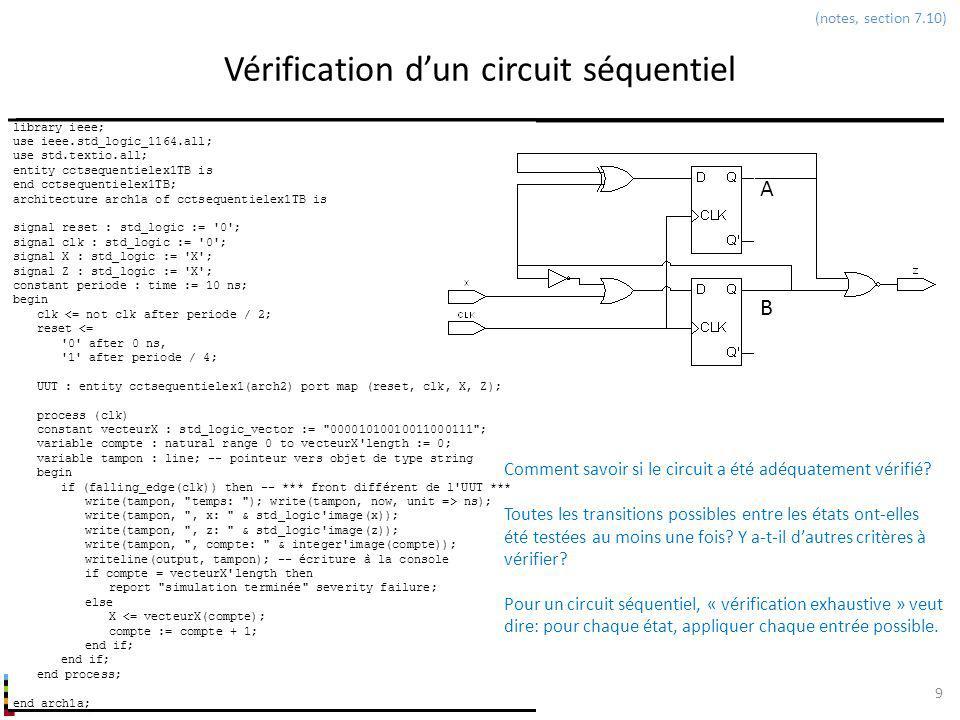 INF3500 : Conception et implémentation de systèmes numériques Vérification dun circuit séquentiel 9 (notes, section 7.10) library ieee; use ieee.std_l