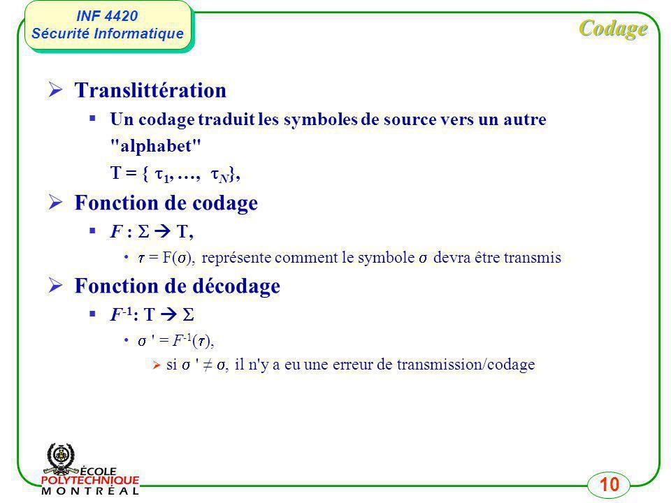 INF 4420 Sécurité Informatique INF 4420 Sécurité Informatique 10 Codage Translittération Un codage traduit les symboles de source vers un autre