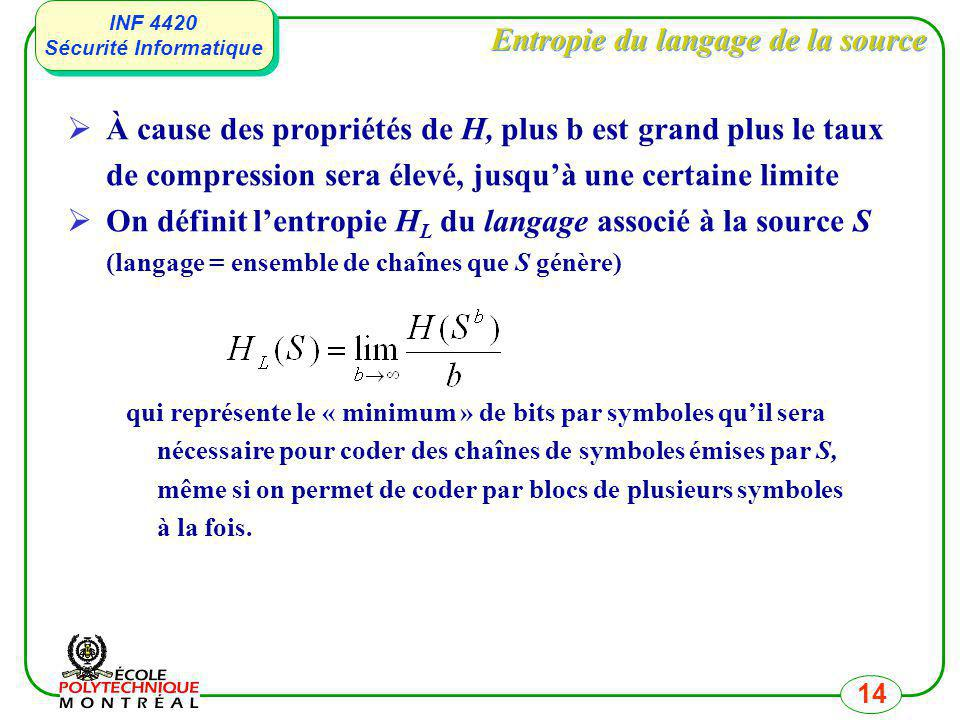INF 4420 Sécurité Informatique INF 4420 Sécurité Informatique 14 Entropie du langage de la source À cause des propriétés de H, plus b est grand plus l