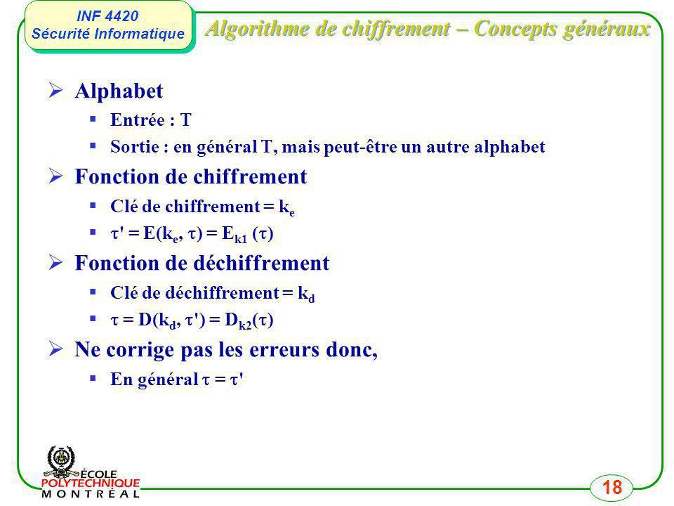 INF 4420 Sécurité Informatique INF 4420 Sécurité Informatique 18 Algorithme de chiffrement – Concepts généraux Alphabet Entrée : Sortie : en général,