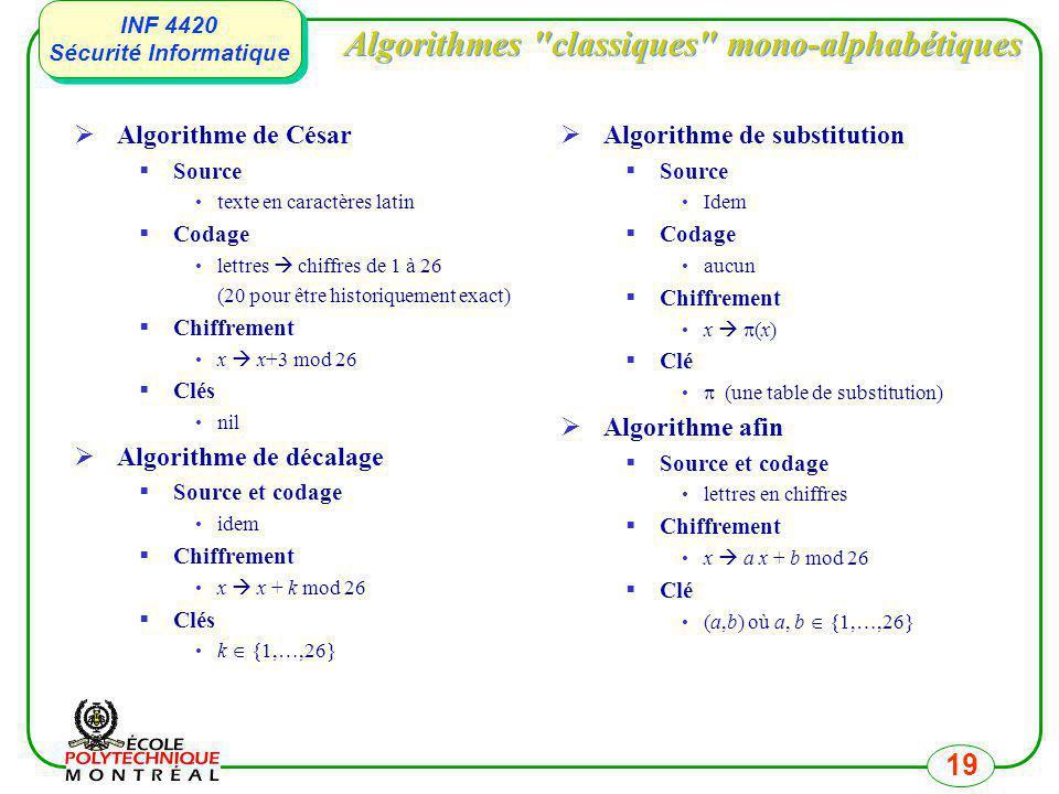 INF 4420 Sécurité Informatique INF 4420 Sécurité Informatique 19 Algorithmes