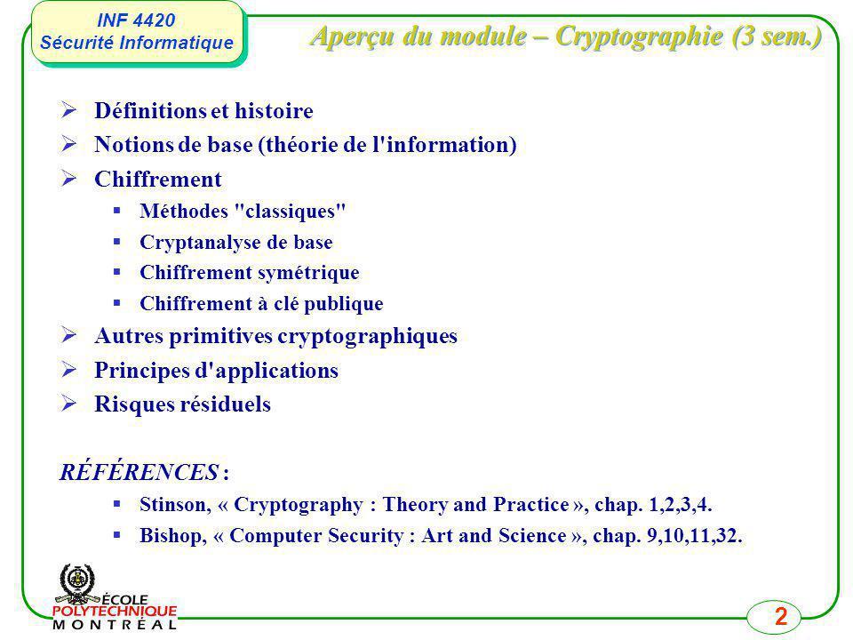 INF 4420 Sécurité Informatique INF 4420 Sécurité Informatique 2 Aperçu du module – Cryptographie (3 sem.) Définitions et histoire Notions de base (thé