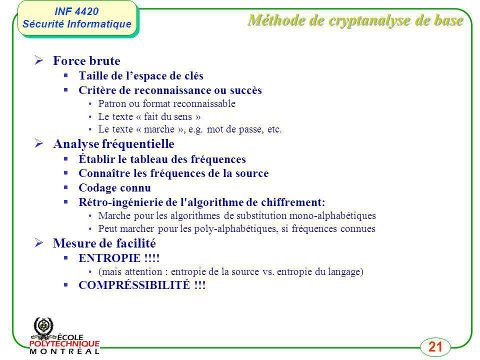 INF 4420 Sécurité Informatique INF 4420 Sécurité Informatique 21 Méthode de cryptanalyse de base Force brute Taille de lespace de clés Critère de reco